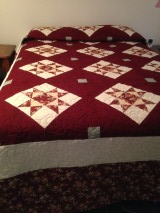 It is 104 by 121 inches a very large queen size quilt